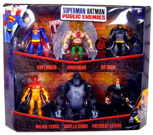 Public Enemies Superman, Hawkman, Batman, Major Force, Gorilla Grodd & Luthor Action Figure 6-Pack