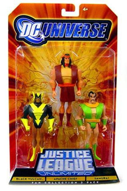 DC Universe Justice League Unlimited Fan Collection Black Vulcan, Apache Chief & Samurai Action Figures