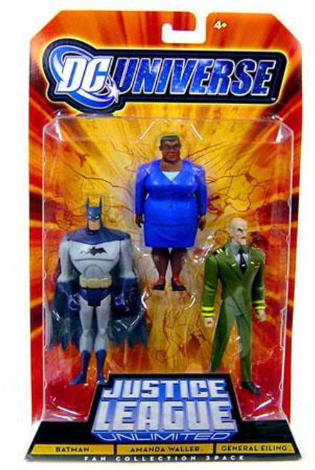 DC Universe Justice League Unlimited Fan Collection Batman, Amanda Waller & General Eiling Action Figures