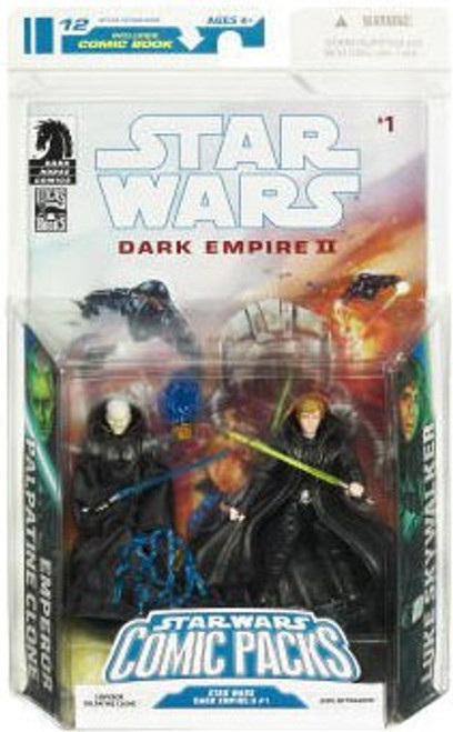 Star Wars 2009 Comic Packs Emperor Palpatine Clone & Luke Skywalker Action Figure 2-Pack