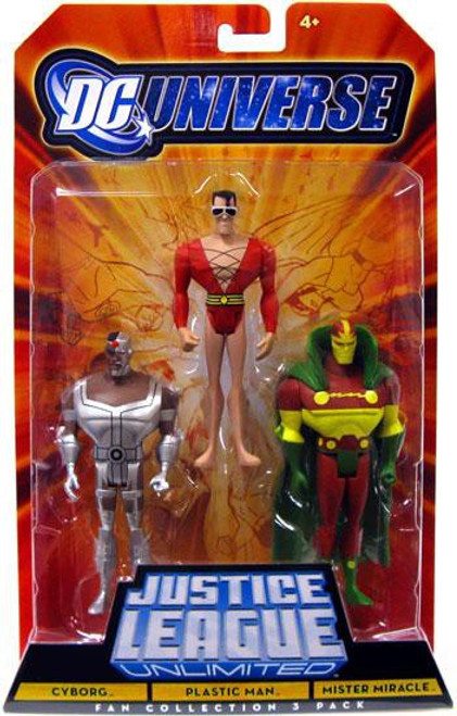 DC Universe Justice League Unlimited Fan Collection Cyborg, Plastic Man & Mister Miracle Action Figures
