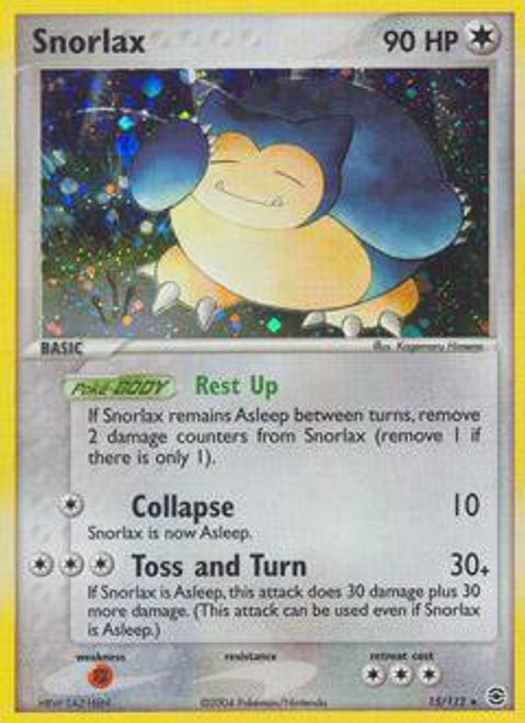 Pokemon EX Fire Red & Leaf Green Rare Holo Snorlax #15