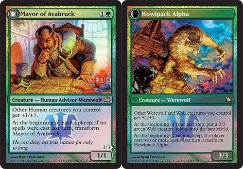 MtG Prerelease & Release Promo Mayor of Avabruck // Howlpack Alpha [Innistrad Prerelease]