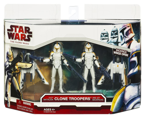Star Wars The Clone Wars 212th Battalion Clone Troopers with Jet Backpacks Vehicle & Action Figure