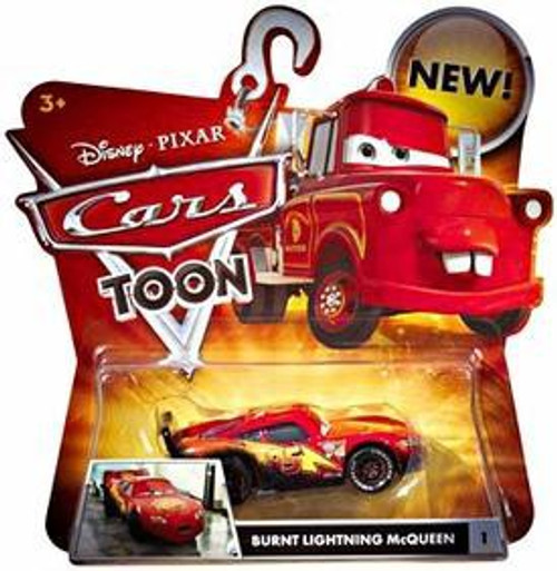 Disney / Pixar Cars Cars Toon Main Series Burnt Lightning McQueen Diecast Car #1