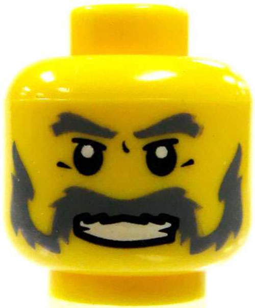 Smiling Old Man with Gray Beard Minifigure Head [Loose]
