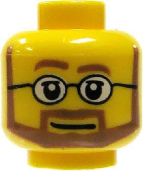 Brown Beard & Glasses Minifigure Head [Yellow Loose]