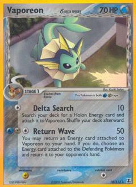 Pokemon EX Delta Species Rare Holo Vaporeon #18 [Delta Species]