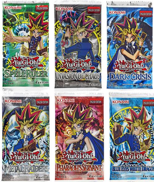 YuGiOh Trading Card Game Invasion of Chaos, BEWD, Dark Crisis, Metal Raiders, Spell Ruler & Pharaoh's Servant LOT of 6 Booster Packs