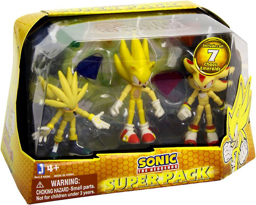 Sonic The Hedgehog Super Pack Action Figure 3-Pack [Includes 7 Chaos Emeralds]