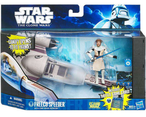 Star Wars The Clone Wars Freeco Speeder with Obi -Wan Kenobi Vehicle & Action Figure