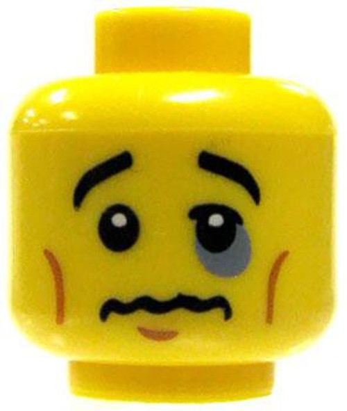 Male with Bruised Eye, Quivering Lips / Gold Mouth Guard Minifigure Head [Dual-Sided Loose]