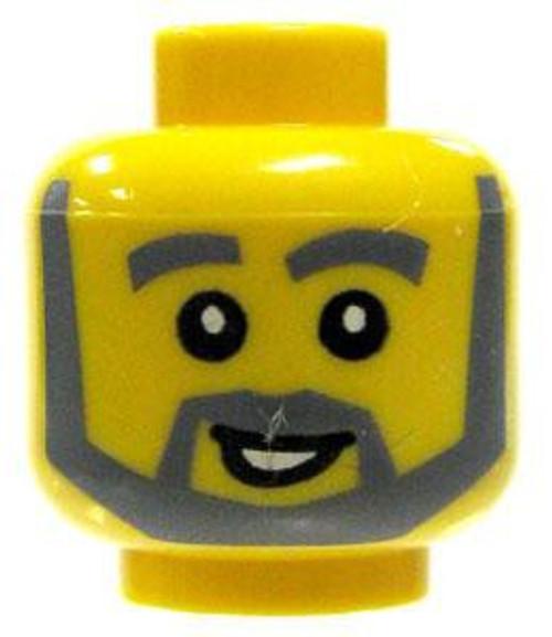 Gray Beard, Thick Eyebrows & Smile Minifigure Head [Yellow Loose]