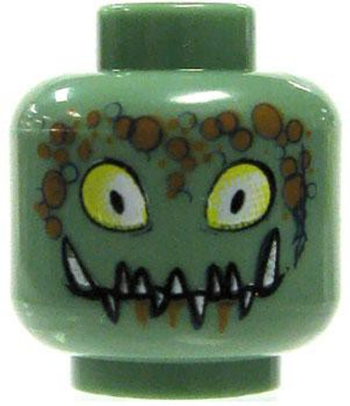 Sand Green with Yellow Eyes & Jagged Fangs Minifigure Head [Loose]