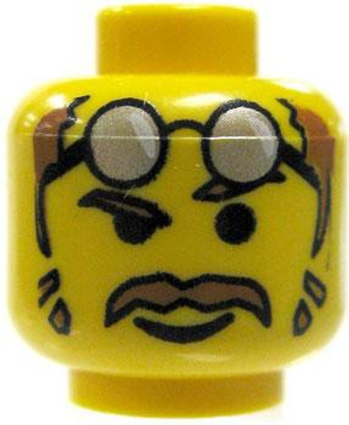 Brown Moustache & Glasses Raised on Forehead Minifigure Head [Yellow Loose]