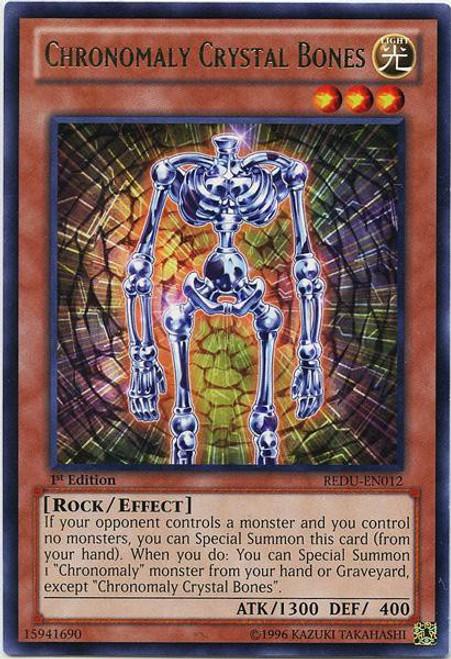 YuGiOh Trading Card Game Return of the Duelist Rare Chronomaly Crystal Bones REDU-EN012