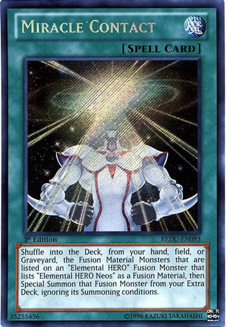 YuGiOh Trading Card Game Return of the Duelist Secret Rare Miracle Contact REDU-EN093