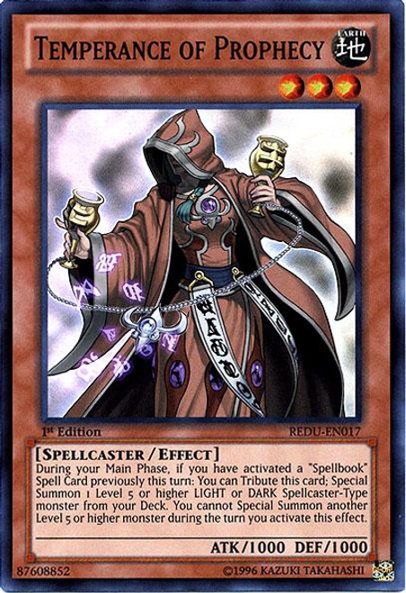 YuGiOh Trading Card Game Return of the Duelist Super Rare Temperance of Prophecy REDU-EN017