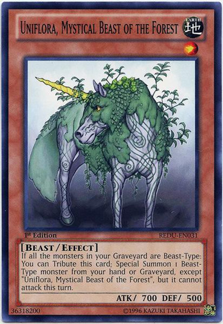 YuGiOh Zexal Trading Card Game Return of the Duelist Common Uniflora, Mystical Beast of the Forest REDU-EN031