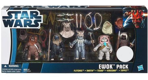 Star Wars Return of the Jedi 2012 Flitchee, Nanta, Teebo, Kneesaa, Tippet Exclusive Action Figure 4-Pack [Ewok Pack]