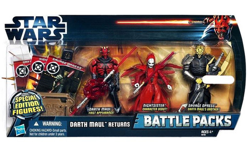 Star Wars The Clone Wars 2012 Battle Pack Darth Maul Returns Exclusive Action Figure 3-Pack [Maul, Nightsister & Savage Opress]