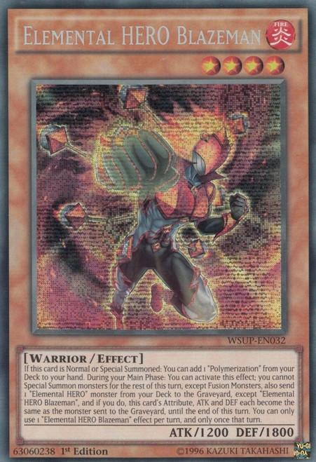 YuGiOh World Superstars Prismatic Secret Rare Elemental HERO Blazeman WSUP-EN032