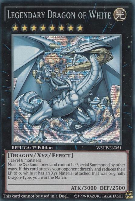 YuGiOh World Superstars Prismatic Secret Rare Legendary Dragon of White WSUP-EN051