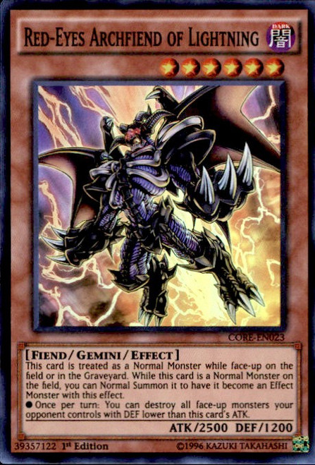 YuGiOh Clash of Rebellions Super Rare Red-Eyes Archfiend of Lightning CORE-EN023