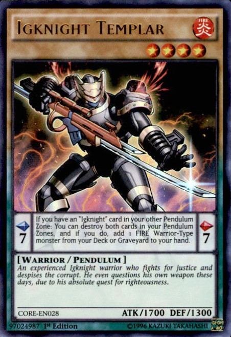 YuGiOh Clash of Rebellions Ultra Rare Igknight Templar CORE-EN028