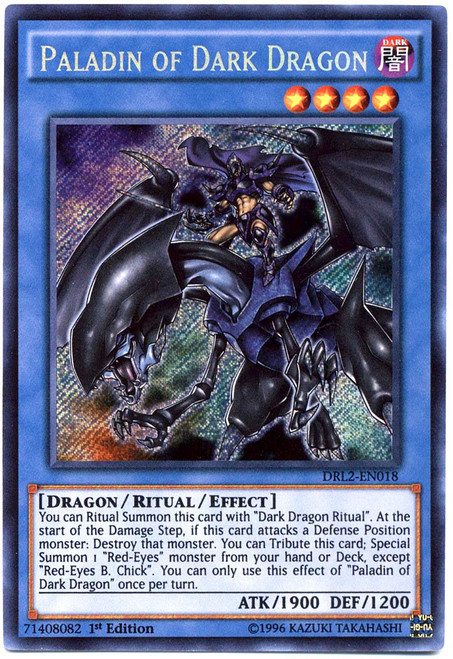 YuGiOh Dragons of Legend 2 Secret Rare Paladin of Dark Dragon DRL2-EN018