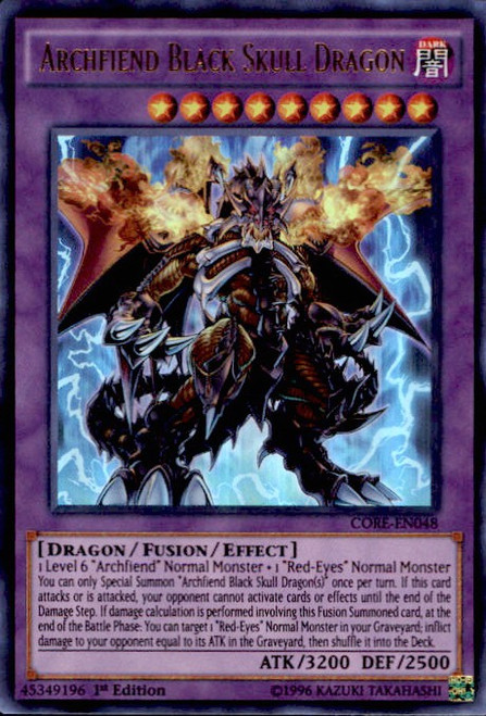 YuGiOh Clash of Rebellions Ultra Rare Archfiend Black Skull Dragon CORE-EN048