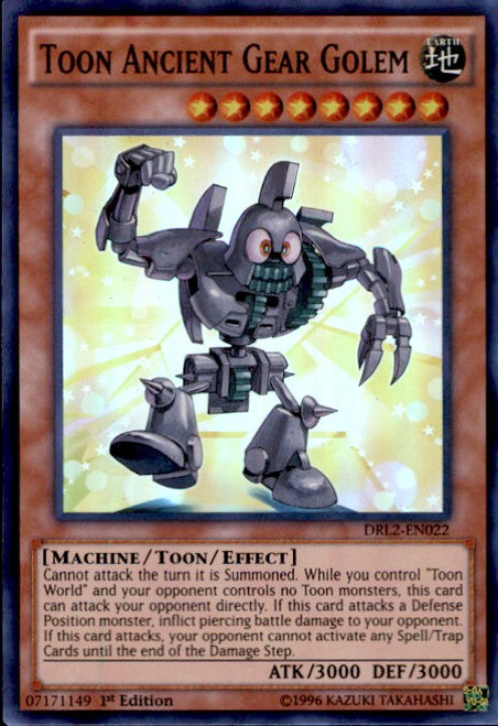 YuGiOh Dragons of Legend 2 Super Rare Toon Ancient Gear Golem DRL2-EN022