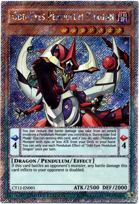 YuGiOh 2015 Mega Tin Platinum Secret Rare Odd-Eyes Pendulum Dragon CT12-EN001