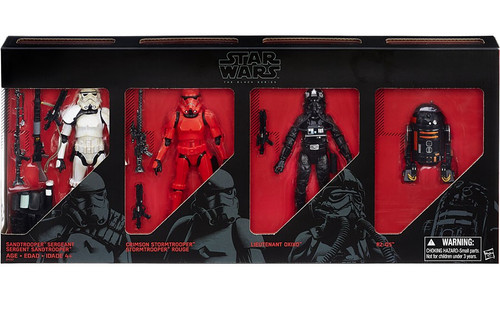 Star Wars Black Series Sandtrooper Sergeant, Crimson Stormtrooper, Lieutenant Oxixo & R2-Q5 Exclusive Action Figure 4-Pack [Imperial Forces ]