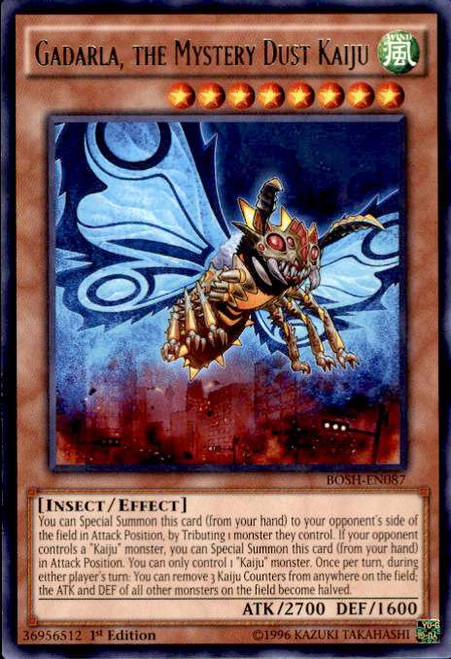 YuGiOh Breakers of Shadow Rare Gadarla, the Mystery Dust Kaiju BOSH-EN087