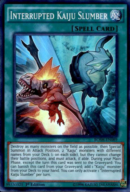 YuGiOh Breakers of Shadow Super Rare Interrupted Kaiju Slumber BOSH-EN089
