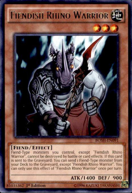 YuGiOh Breakers of Shadow Rare Fiendish Rhino Warrior BOSH-EN091