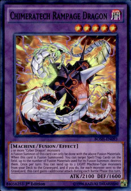 YuGiOh Breakers of Shadow Super Rare Chimeratech Rampage Dragon BOSH-EN093