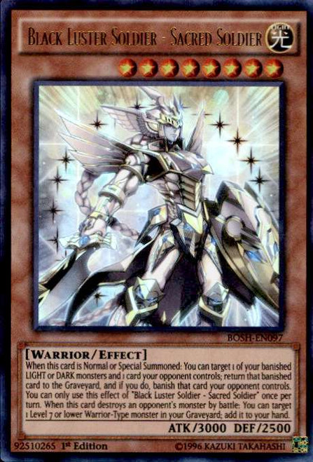 YuGiOh Breakers of Shadow Ultra Rare Black Luster Soldier - Sacred Soldier BOSH-EN097