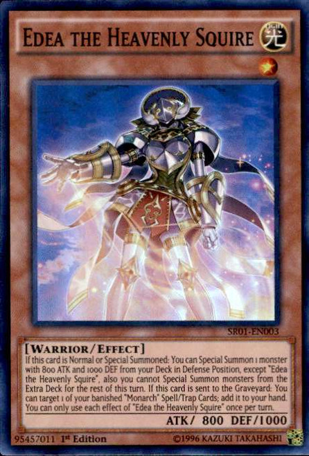 YuGiOh Emperor of Darkness Structure Deck Super Rare Edea the Heavenly Squire SR01-EN003