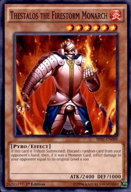 YuGiOh Emperor of Darkness Structure Deck Common Thestalos the Firestorm Monarch SR01-EN008
