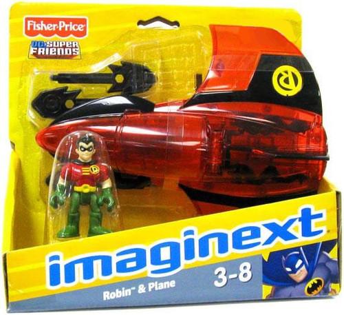 Fisher Price DC Super Friends Imaginext Robin & Plane Exclusive 3-Inch Figure Set