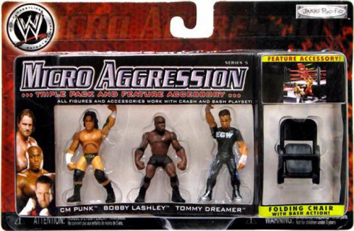WWE Wrestling Micro Aggression Series 5 CM Punk, Bobby Lashley & Tommy Dreamer Mini Figure 3-Pack