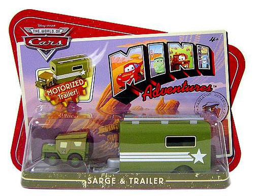 Disney / Pixar Cars The World of Cars Mini Adventures Sarge & Motorized Trailer Plastic Car 2-Pack