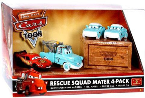Disney / Pixar Cars Cars Toon Multi-Packs Rescue Squad Mater 4-Pack Diecast Car Set [Dr. Mater]