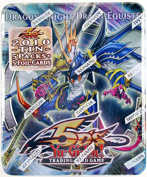 YuGiOh 5D's Trading Card Game 2010 Dragon Knight Draco-Equiste Tin Set [5 Booster Packs & 5 Super Rare Cards!]