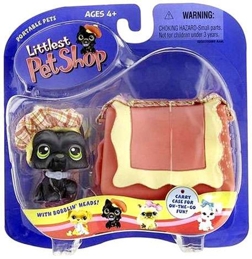 Littlest Pet Shop Portable Pets Scottish Terrier Figure [Black Scottie with Hat & Carry Case]