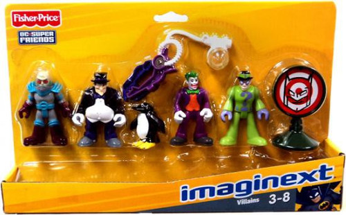Fisher Price DC Super Friends Imaginext Villains Mr. Freeze, Penguin, Joker & Riddler 3-Inch Mini Figure 5-Pack