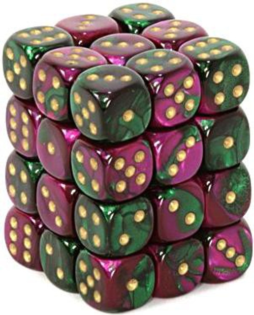 Chessex 6-Sided d6 Gemini 12mm Dice Pack #26834 [Green-Purple & Gold]