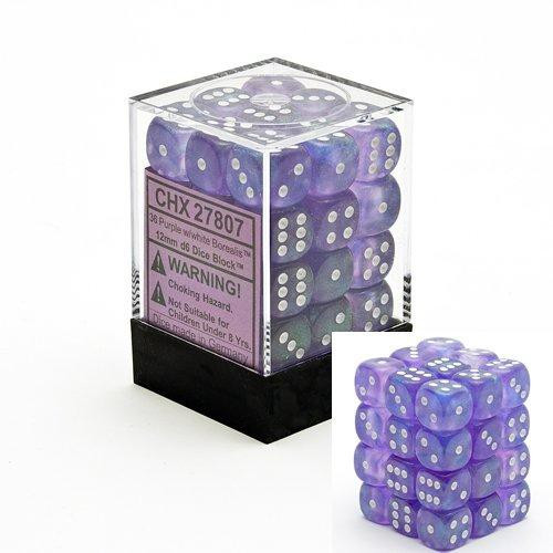 Chessex 6-Sided d6 Borealis 12mm Dice Pack #27807 [Purple & White]